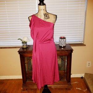 Halston Heritage red silk like dress